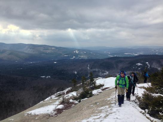 Hikers do a test hike on Mount Dickey in the White Mountains.