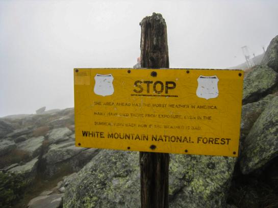 A sign on Mount Washington warns hikers that they will encounter the worst weather in America.