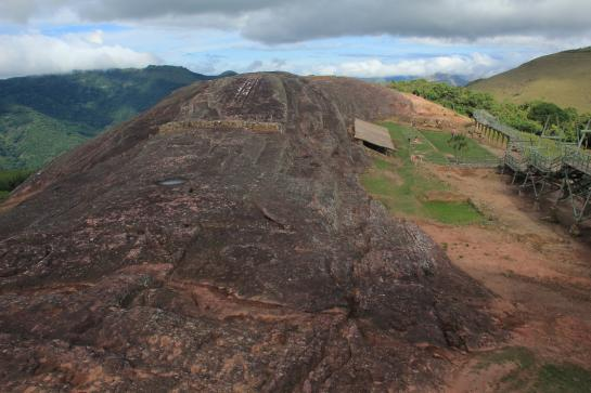 Visitors to El Fuerte de Samaipata in Bolivia are greeting by a massive rock monolith.