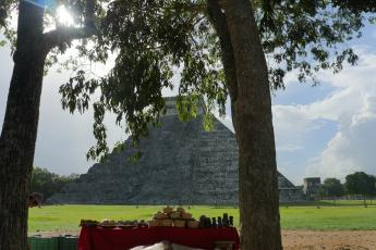A single souvenir vendor remains at the end of the day in the ancient Mayan city of Chichen Itza, Mexico.