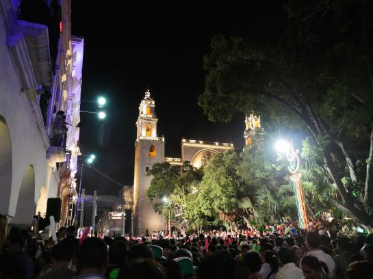 Crowds gather to watch Mexican band Intocable for Mexican Independence Day in Mérida, Mexico.