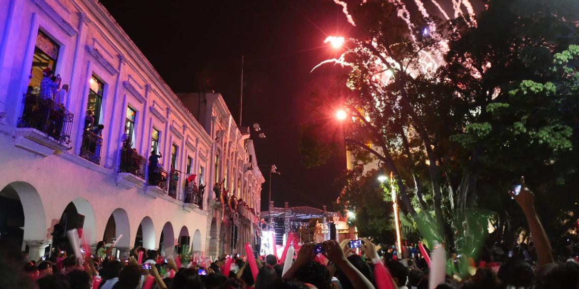 Mexicans watch fireworks explode in the sky above the Mérida Cathedral for Mexican Independence Day in Mérida, Mexico.