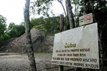Coba Climb At Your Own RIsk sign