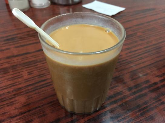 Traditional Hong Kong pantyhose milk tea is served at Lan Fong Yuen.