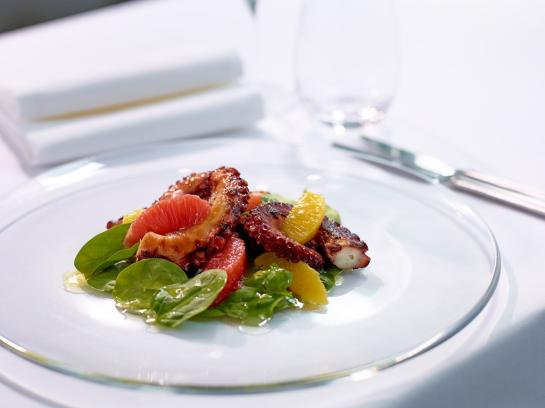 New Italian restaurant Gradini in the Pottinger Hotel serves grilled octopus. (photo courtesy of Gradini)