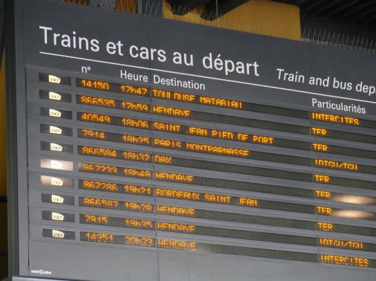 A departure board in the train station in Bayonne, France shows a departure to Saint-Jean-Pied-de-Port, where most people begin the Camino de Santiago.