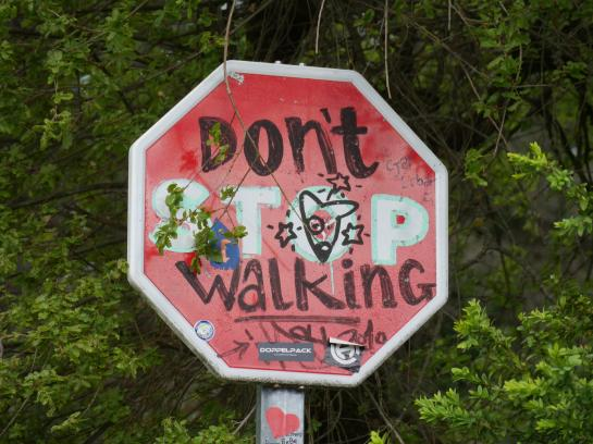 Stop sign graffiti in Spain encourages pilgrims walking the Camino de Santiago.