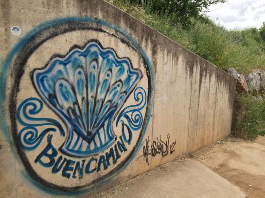 "Street art reminds hikers to have a ""Buen Camino."""