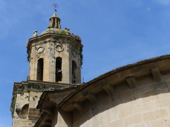 The El Crucifijo Church in Puente la Reina, Spain has a large bell tower.