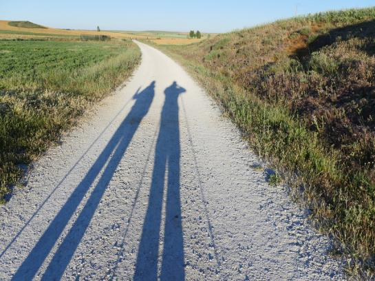 Shadows of two pilgrims appear on a historic Roman road near Mansilla de Las Mulas, Spain.