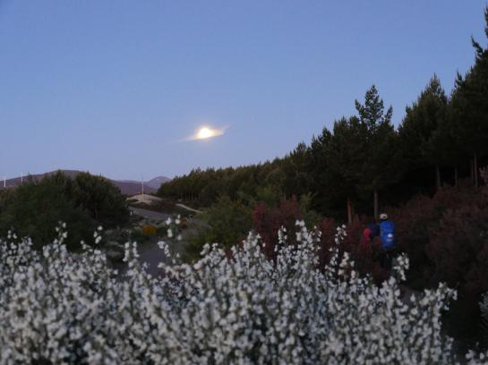 A single cloud sits in front of a full moon above Cruz Ferro, near the high point of the Camino de Santiago.