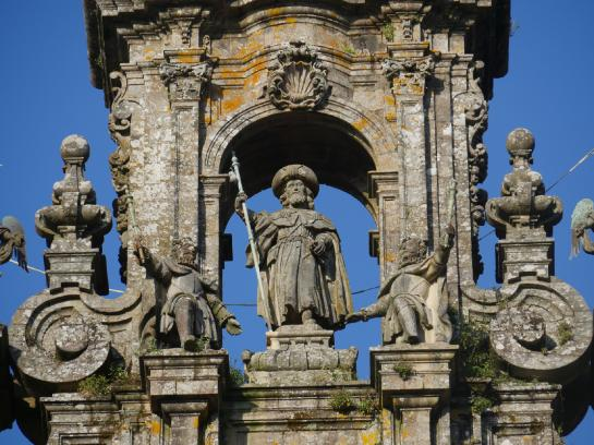 A statue of St. James sits atop the Santiago de Compostela Cathedral.