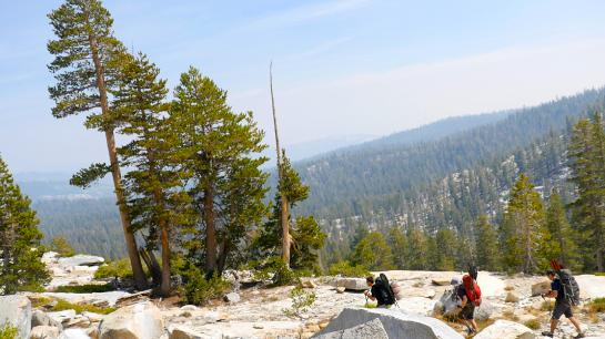 Hikers travel off-trail through Ansel Adams Wilderness.