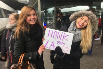 My friends Simona and Petra greet me with a sign at the train station in Odense, Denmark.