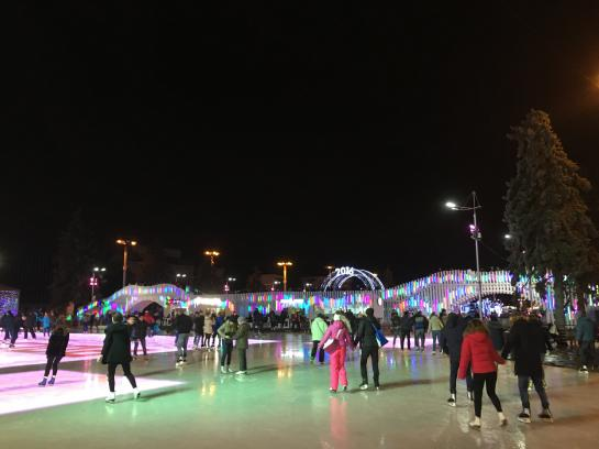 Ice skaters fill the rink at VDNKh in Moscow, Russia.