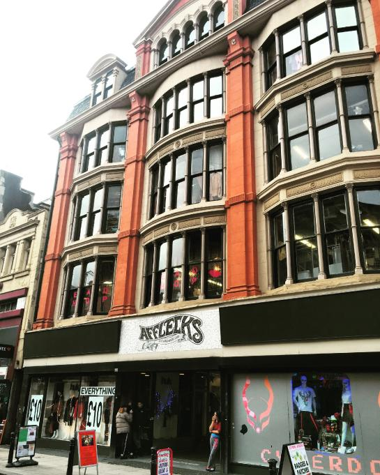 Afflecks, an edgy mall in Manchester, UK, is one of the the band Oasis's old stomping grounds.