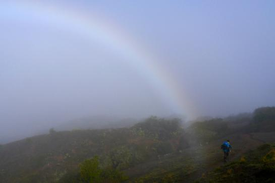 A hiker walks by a morning rainbow on the Trans-Catalina Trail.