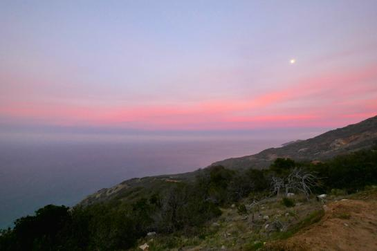 A full moon illuminates the Trans-Catalina Trail at sunset on Catalina Island, California.