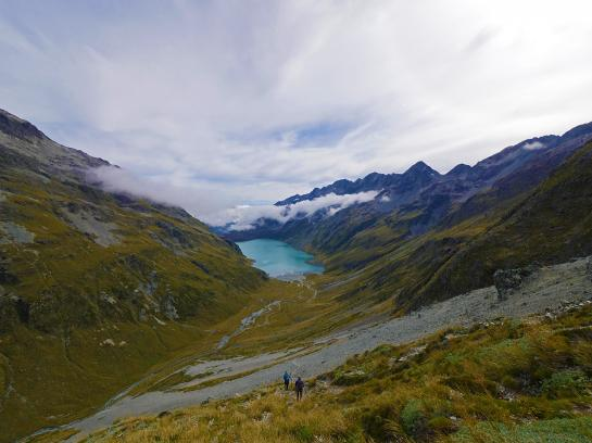 The view of Lake Constance from the top of Waiau Pass is one of the most beautiful sights in all of New Zealand.