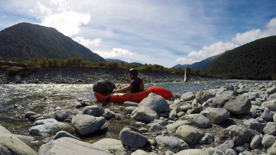I aborted my attempt to packraft the Taramakau River after it became clear that the water level wasn't high enough.