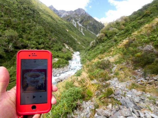 While hiking in Arthur's Pass National Park, I listened to the Lord of the Rings audiobook using my phone.