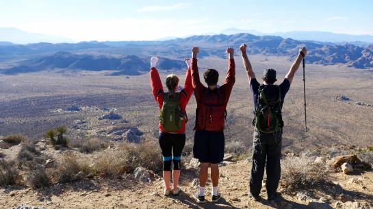 Hikers celebrate atop Ryan Mountain in Joshua Tree National Park.