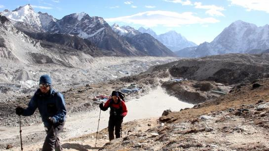 Brian and Hank hiking up Kala Patthar in Nepal.